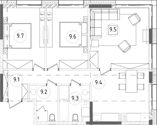 4Е-к.кв, 77.75 м², 2 этаж