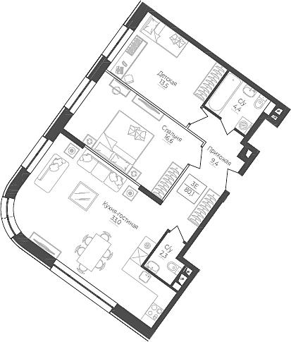 3Е-комнатная, 80.1 м²– 2