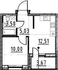 1-к.кв, 31.12 м², от 13 этажа