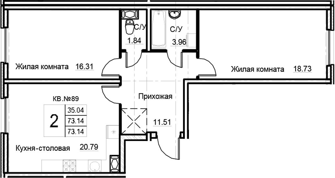 3Е-комнатная, 73.14 м²– 2