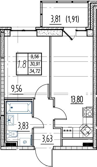 2Е-к.кв, 30.91 м²