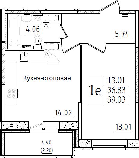 1-комнатная, 39.03 м²– 2