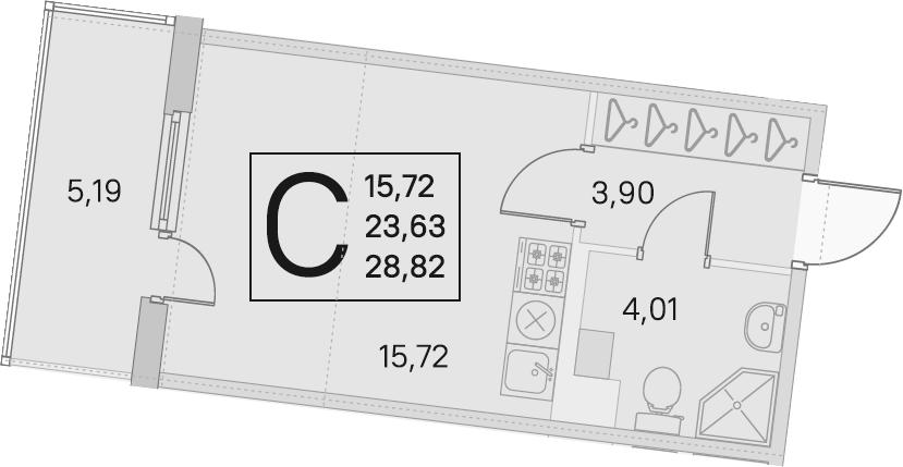 Студия, 23.63 м², 4 этаж – Планировка