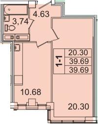 1-комнатная, 39.69 м²– 2