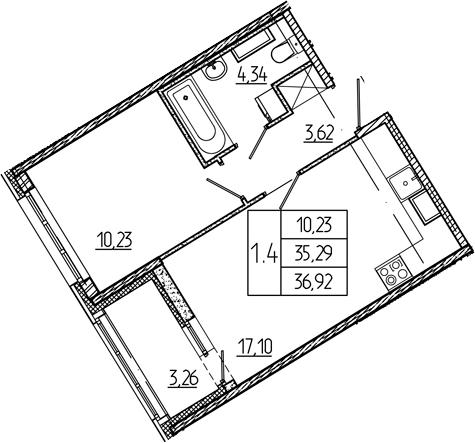 2Е-комнатная, 35.29 м²– 2