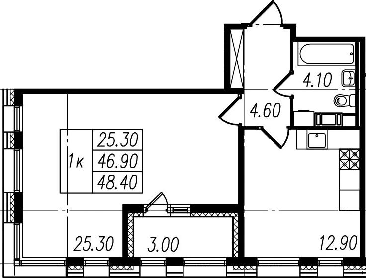 1-комнатная, 46.9 м²– 2