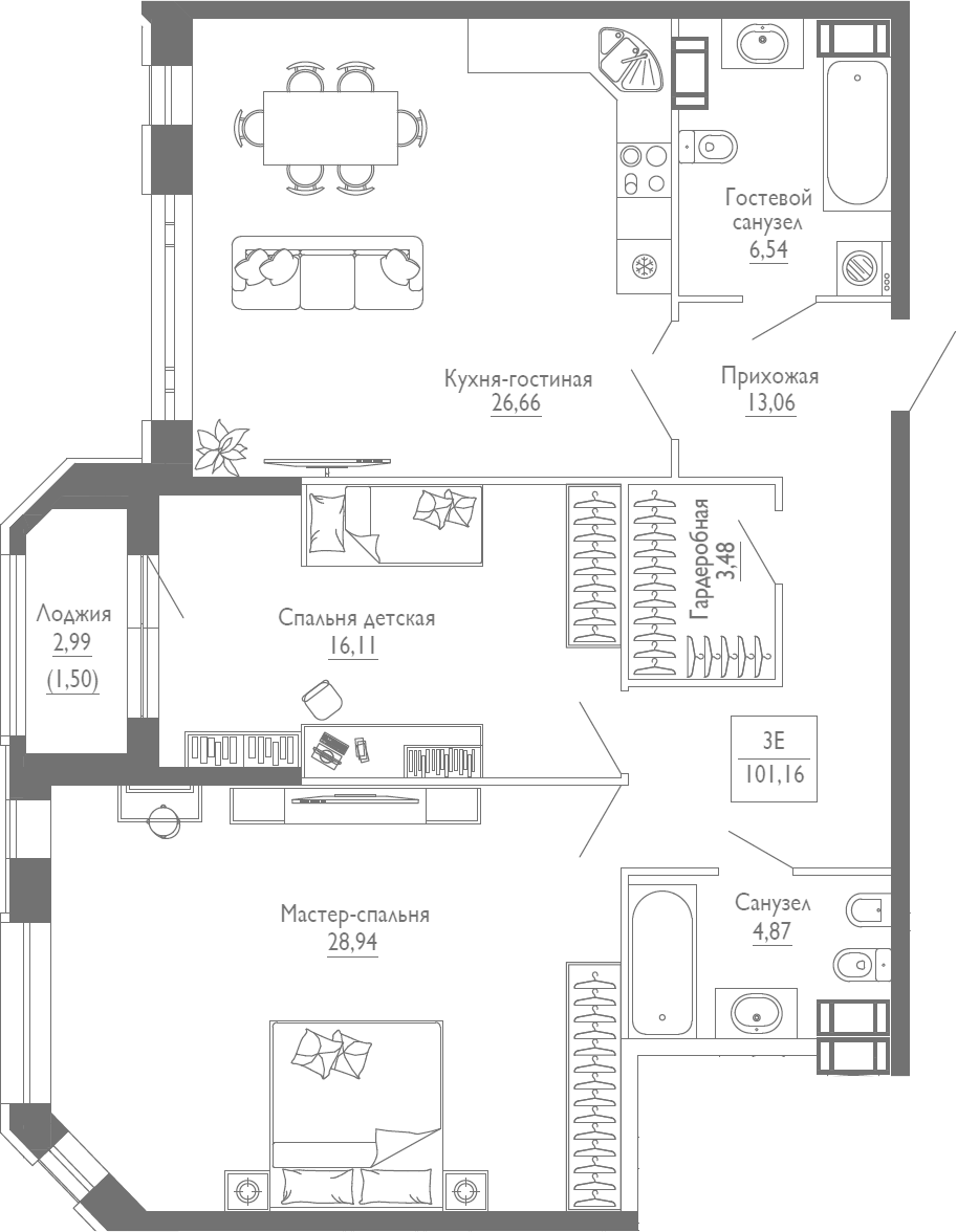 3Е-к.кв, 101.16 м²