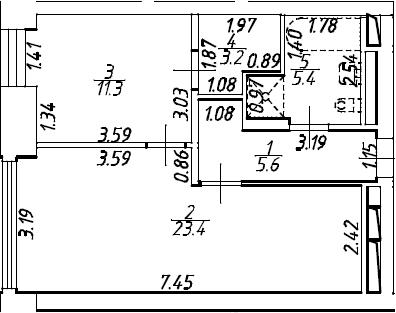 2Е-комнатная, 48.9 м²– 2