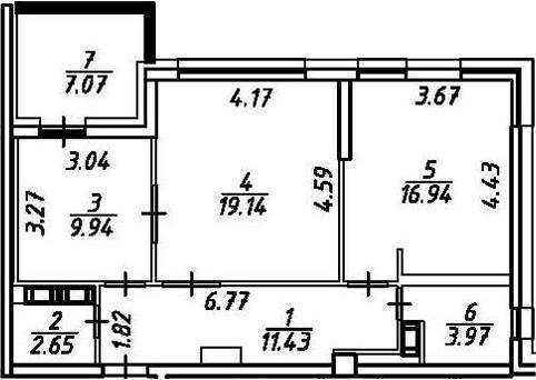 2-к.кв, 71.13 м²