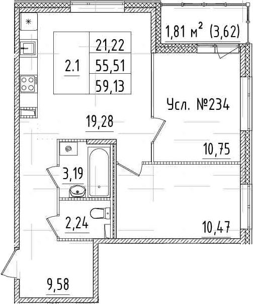 3-к.кв (евро), 59.13 м²
