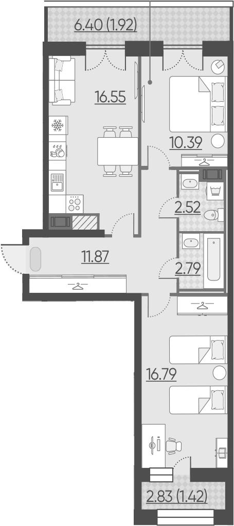 3Е-к.кв, 64.25 м², 10 этаж