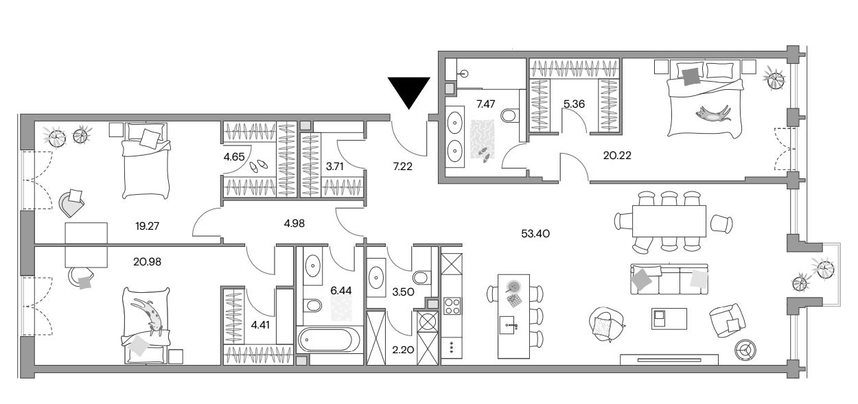 4Е-к.кв, 162.74 м²
