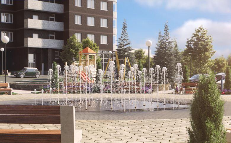 Площадь с фонтаном во дворе