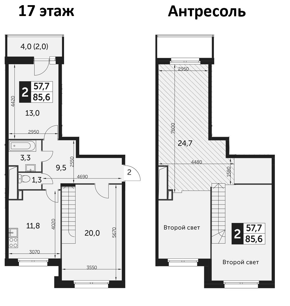 2-комнатная, 85.6 м²– 2