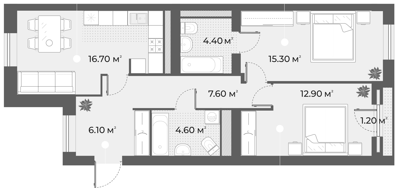 3Е-к.кв, 67.6 м², 2 этаж
