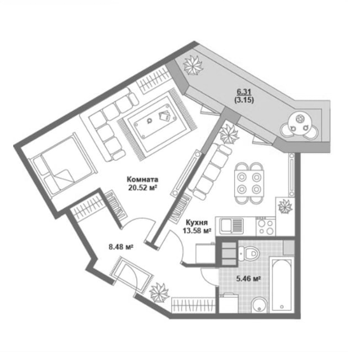 2Е-комнатная, 48.04 м²– 2