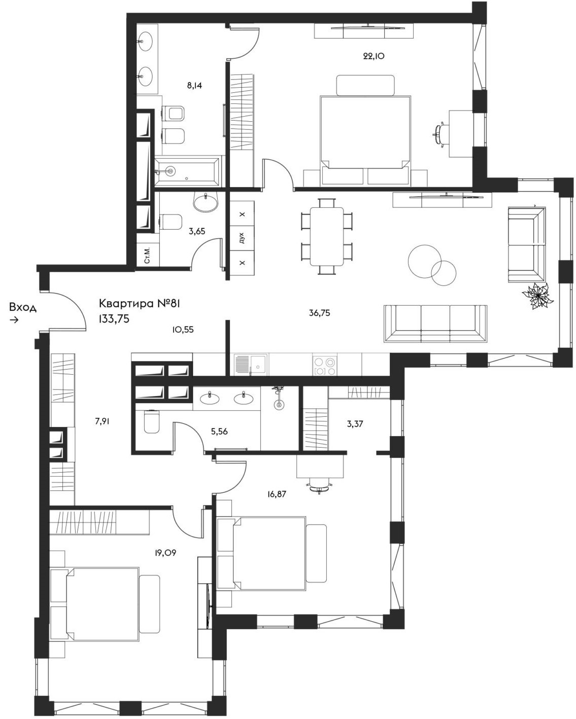4-к.кв (евро), 133.75 м²