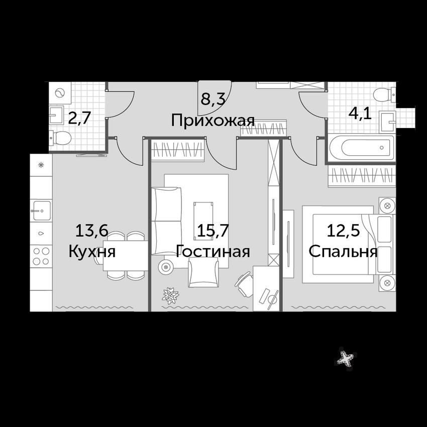 2-к.кв, 56.9 м², 2 этаж