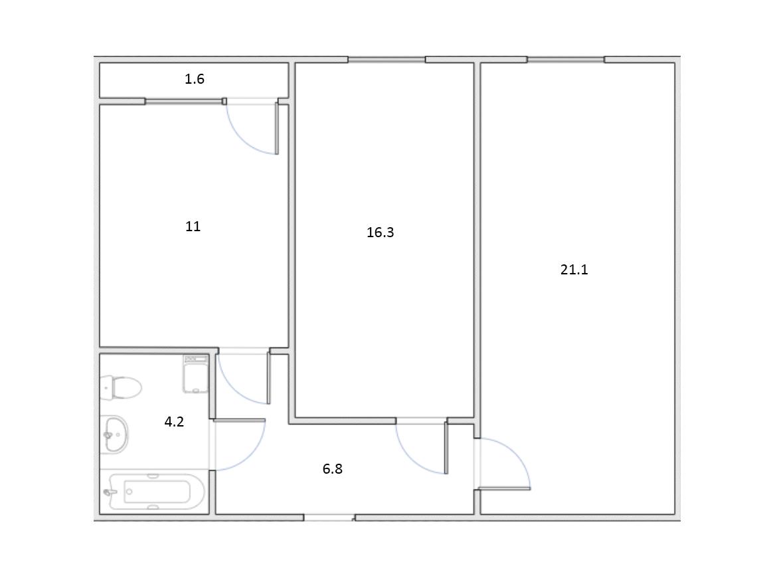 2-к.кв, 59.88 м²
