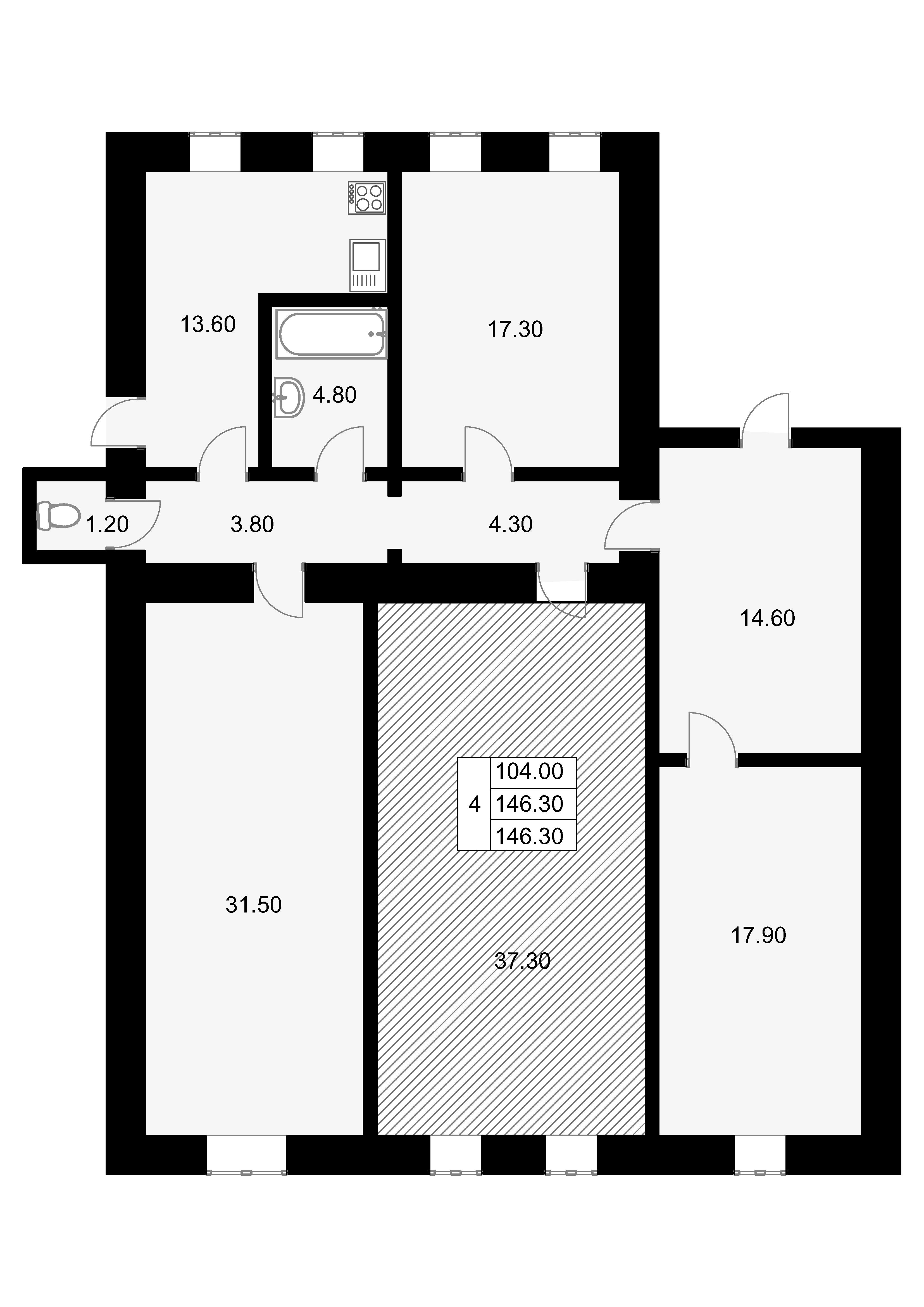 Комнаты, 146.3 м²