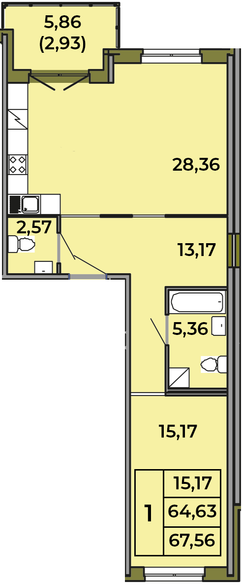 2Е-комнатная, 64.63 м²– 2