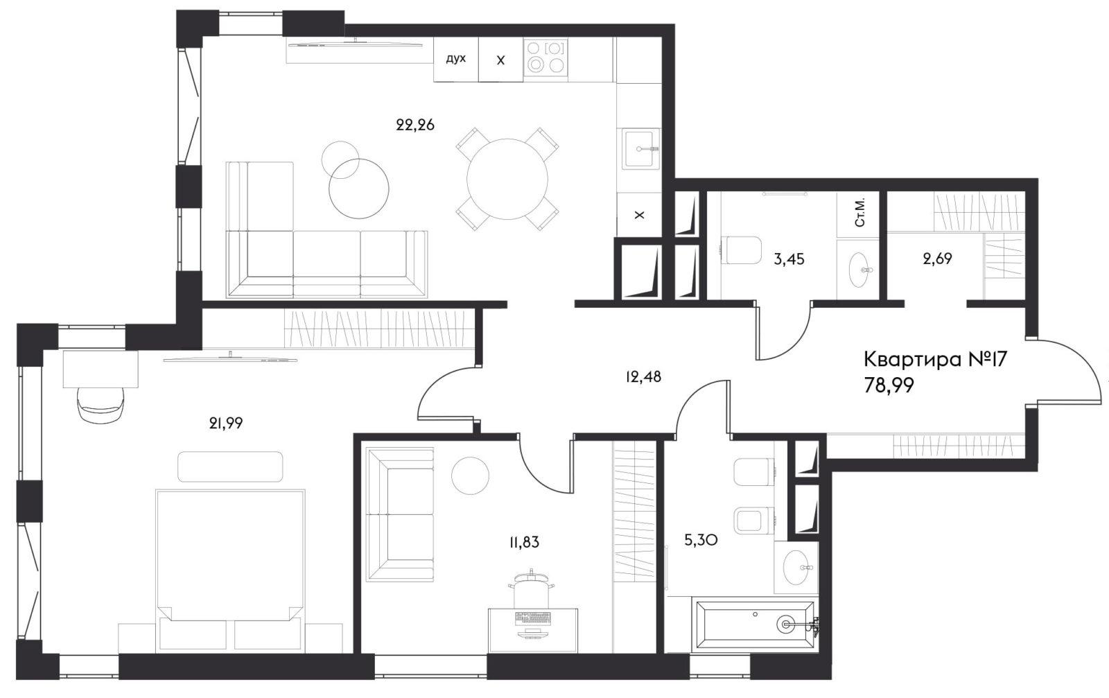 3Е-комнатная, 78.99 м²– 2