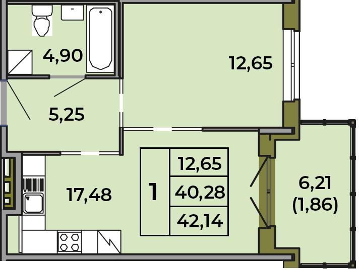 2Е-к.кв, 40.28 м², 1 этаж