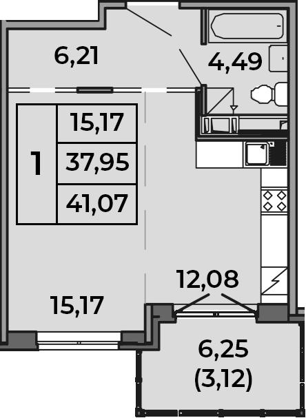 Студия, 37.95 м², от 2 этажа