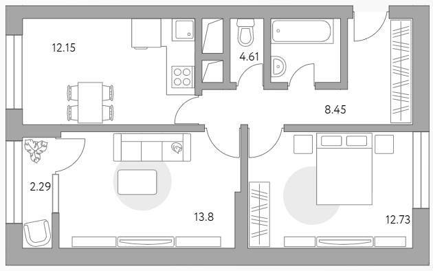 2-к.кв, 54.03 м²