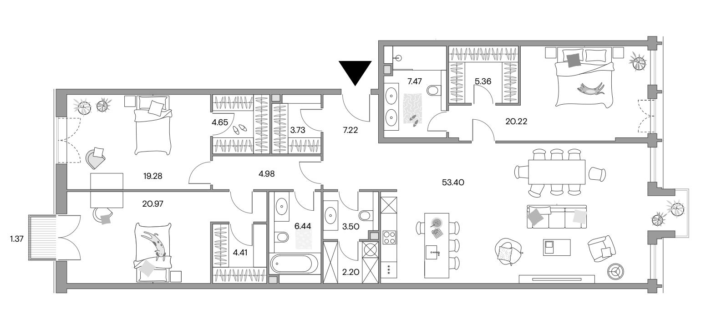 4Е-к.кв, 163.16 м²