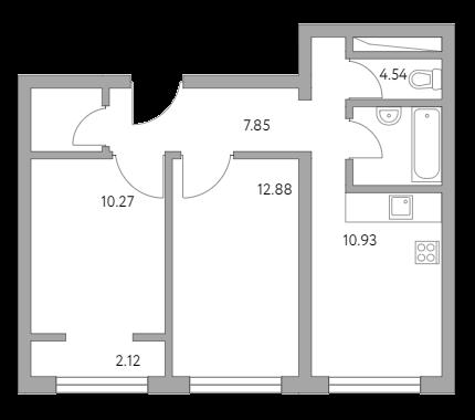 2-к.кв, 50.65 м²