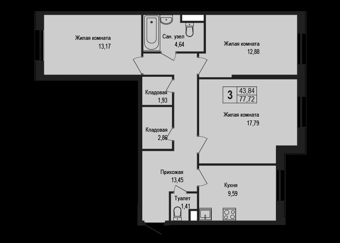 3-к.кв, 77.72 м²