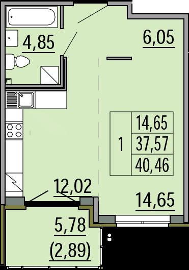 Студия, 40.46 м²– 2