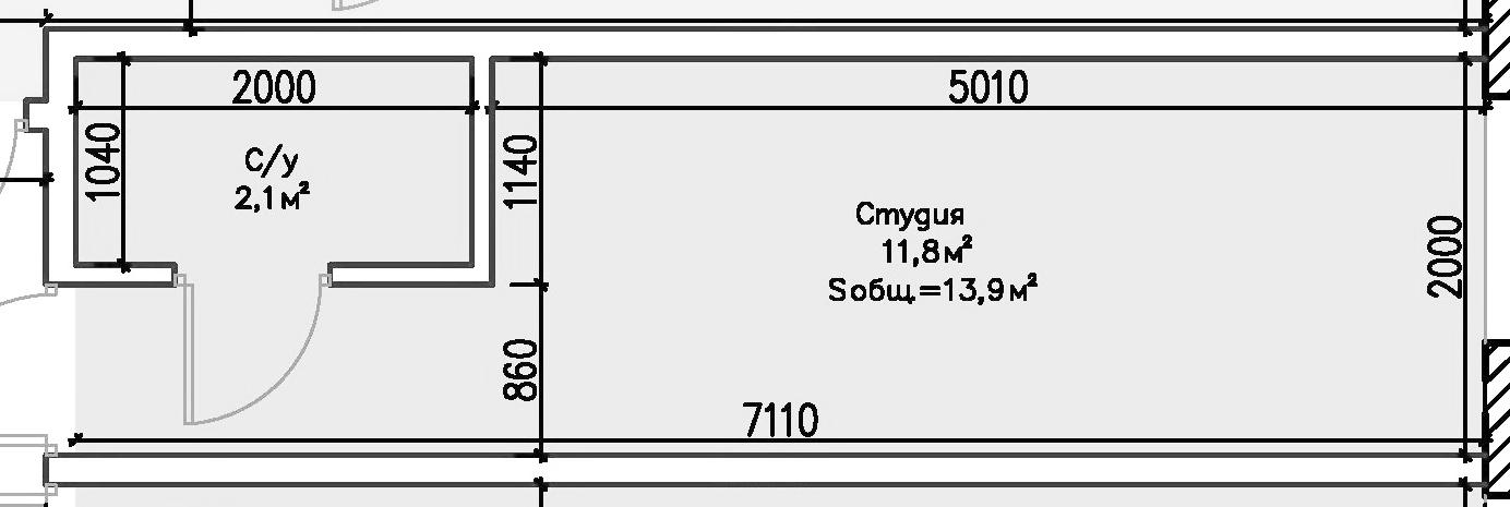 Студия, 17.66 м²