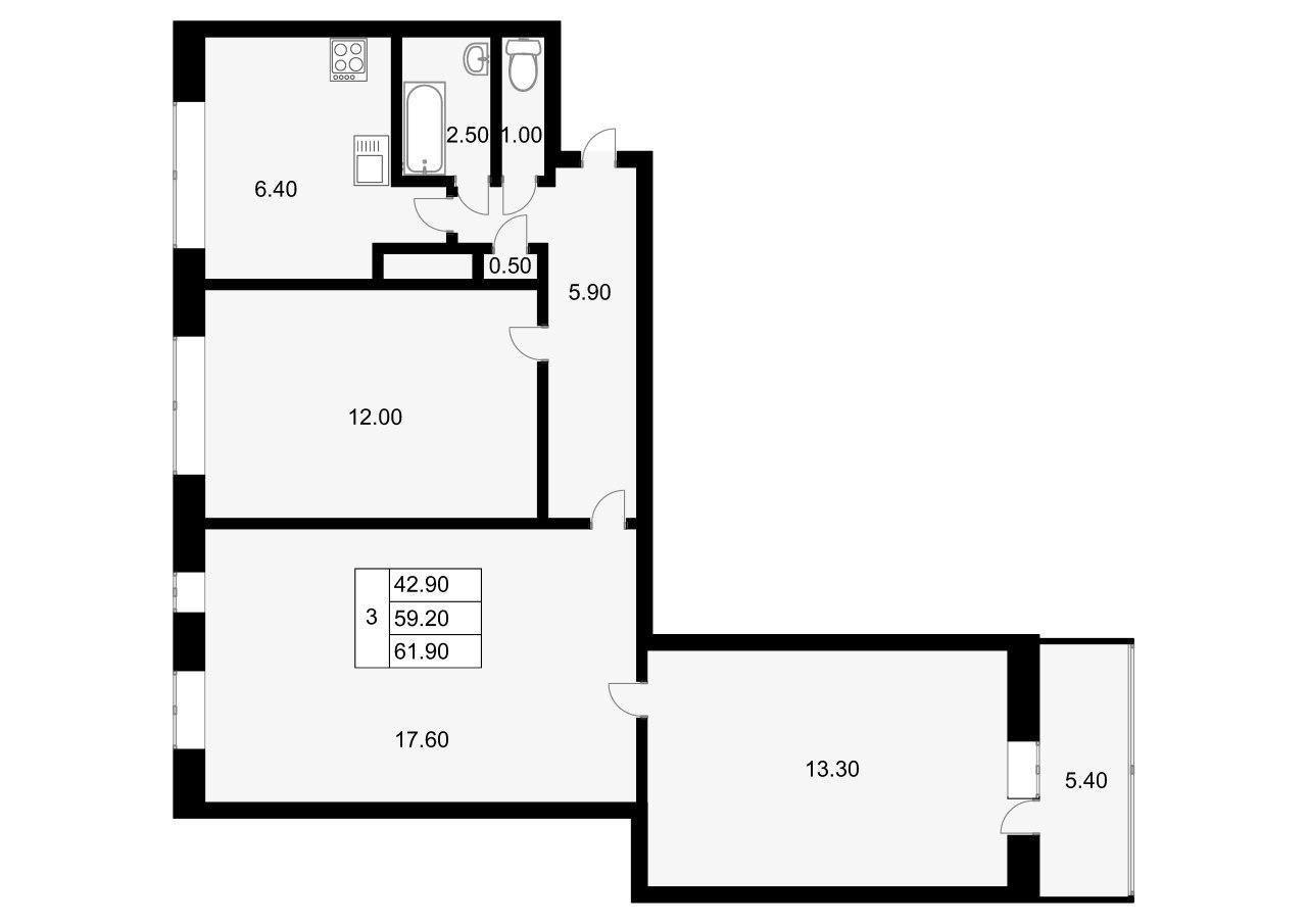 3-к.кв, 64.6 м²