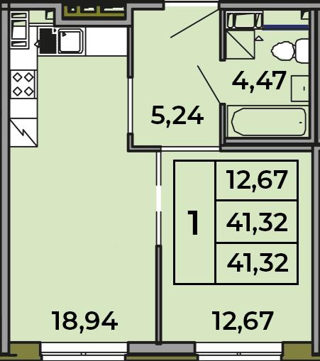 2Е-комнатная, 41.32 м²– 2