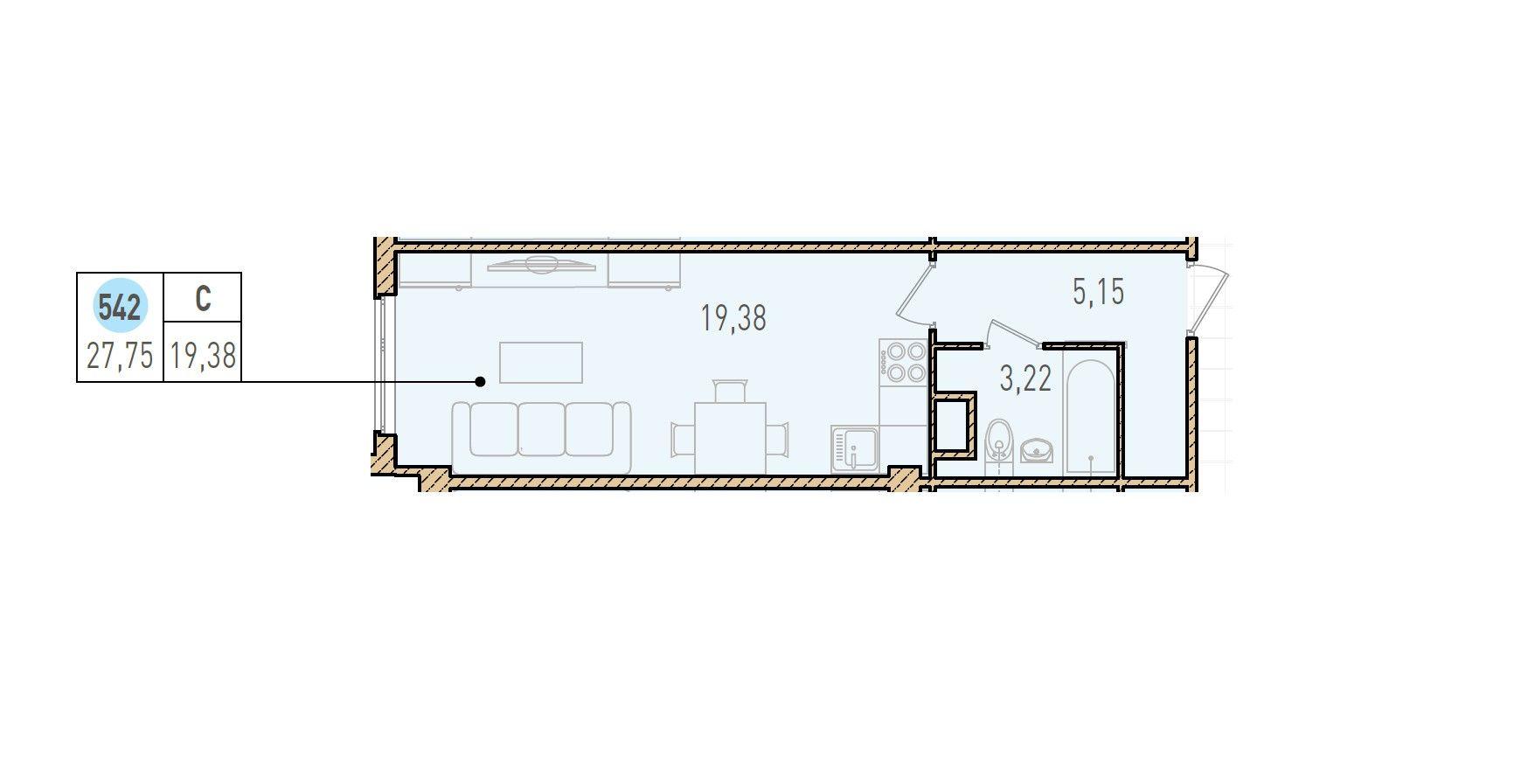 Студия, 27.75 м²– 2