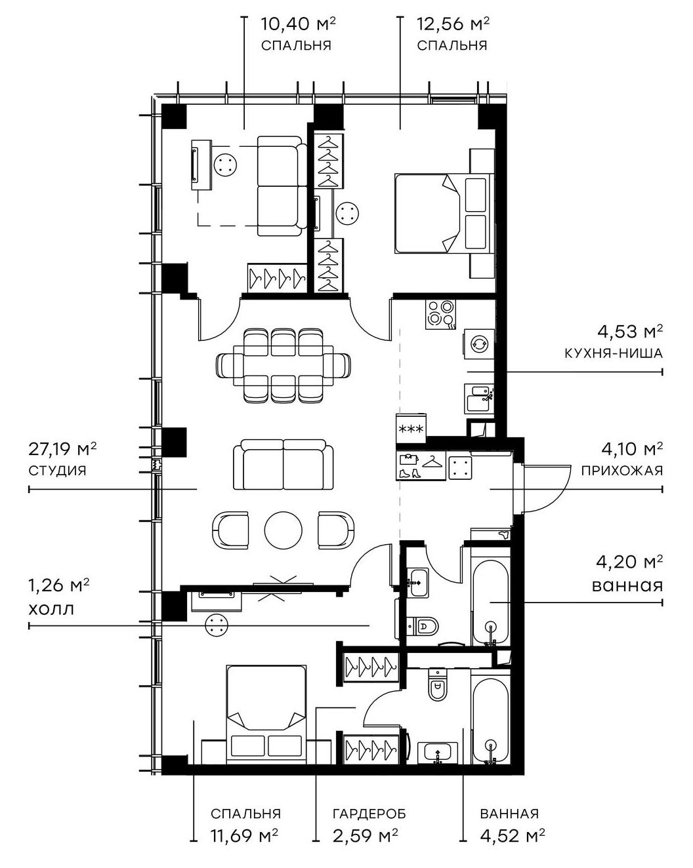 4Е-комнатная, 83.04 м²– 2