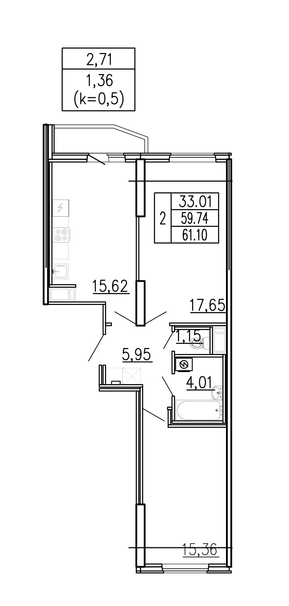 3-к.кв (евро), 62.46 м²