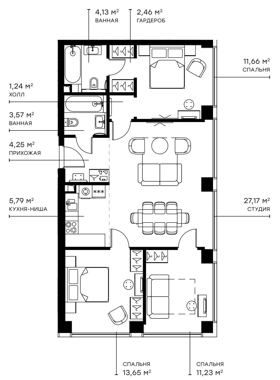 4Е-комнатная, 85.15 м²– 2