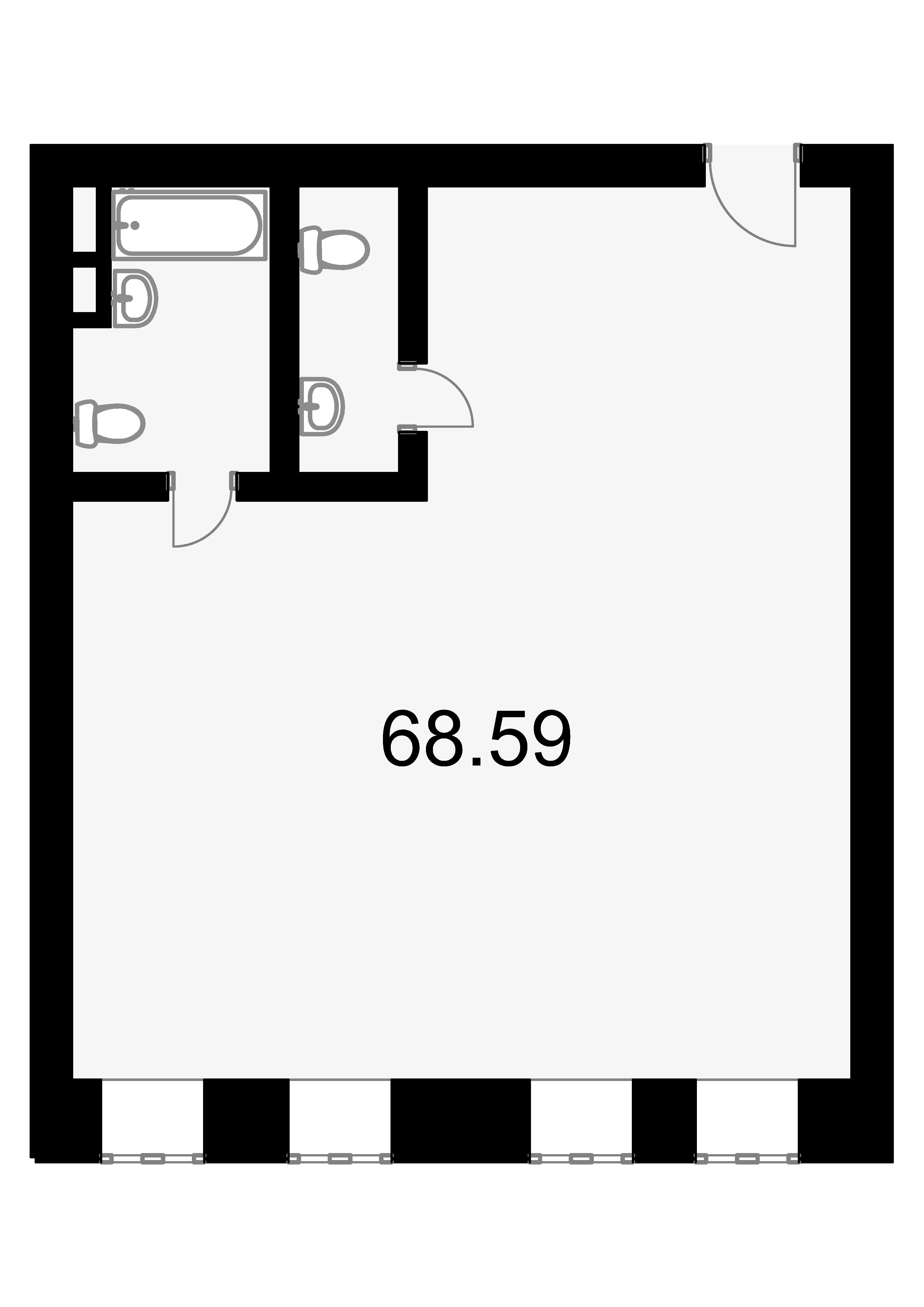 Свободная планировка, 68.5 м²– 2
