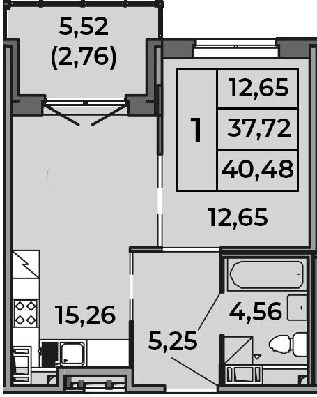 2Е-к.кв, 37.72 м², от 2 этажа