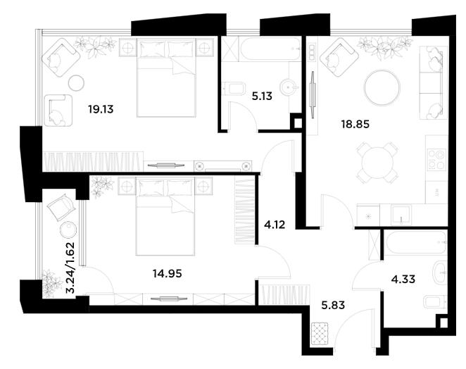 3Е-к.кв, 73.96 м²