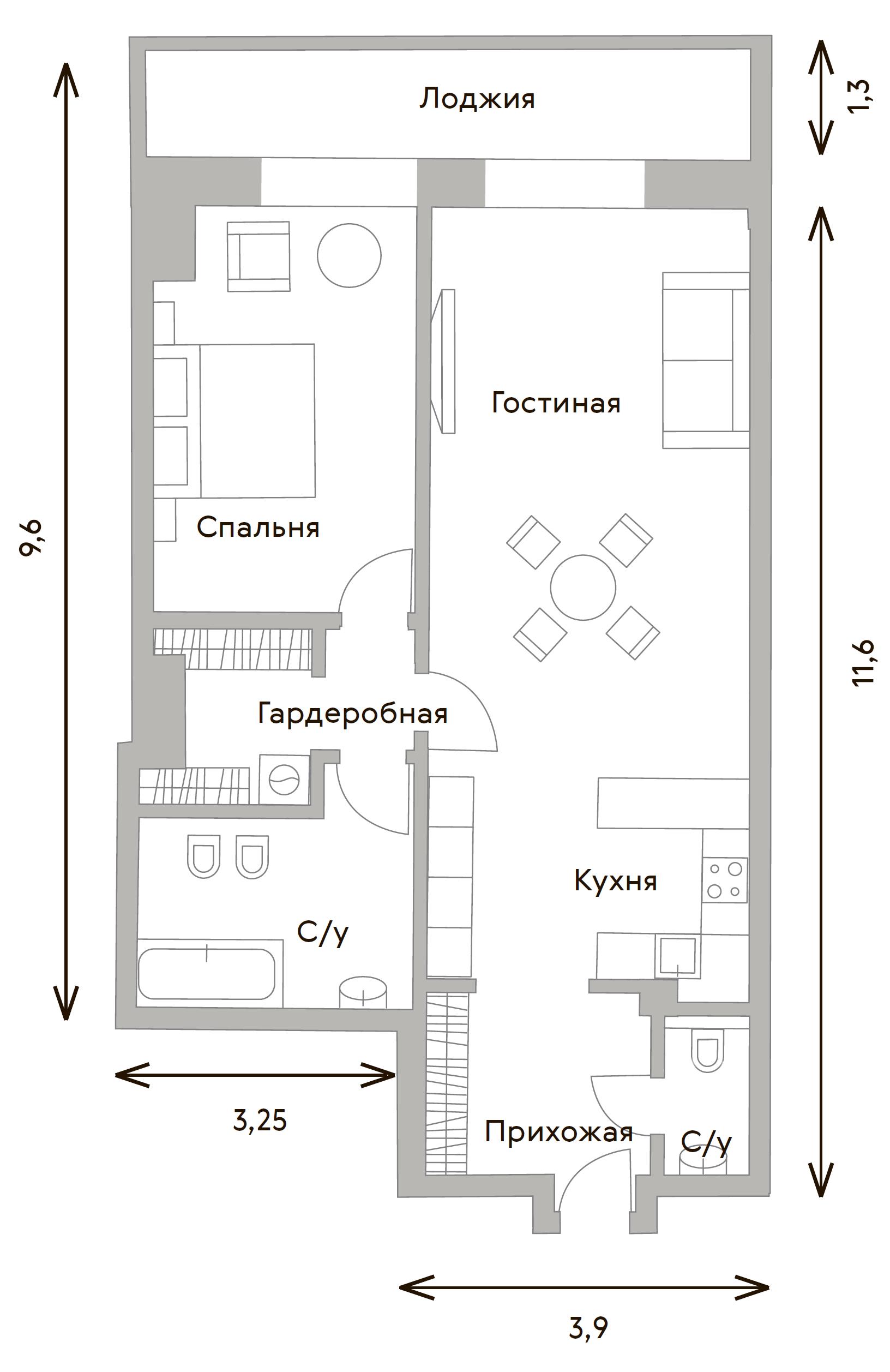 2Е-комнатная, 75.6 м²– 2