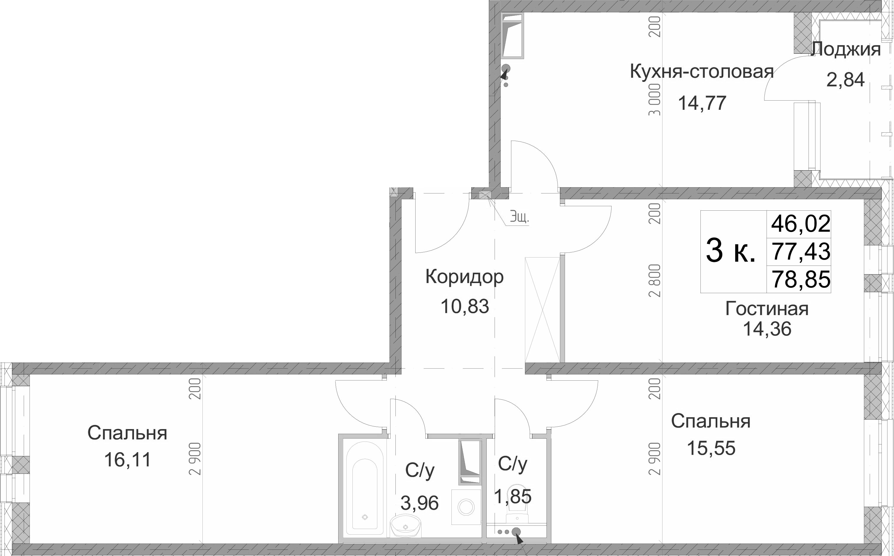 3-к.кв, 78.85 м², от 6 этажа