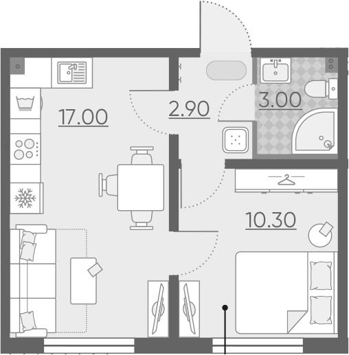 2Е-к.кв, 33.2 м², 1 этаж