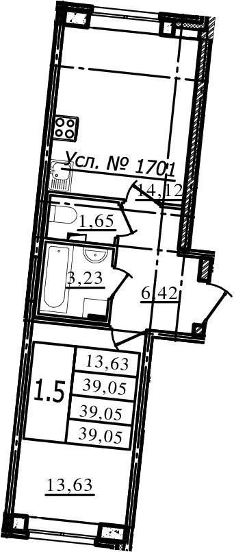 1-к.кв, 39.05 м², 1 этаж