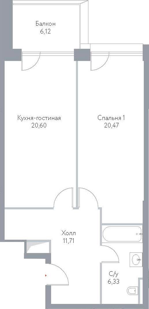 2Е-комнатная, 65.23 м²– 2
