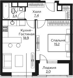 2Е-комнатная, 46.9 м²– 2