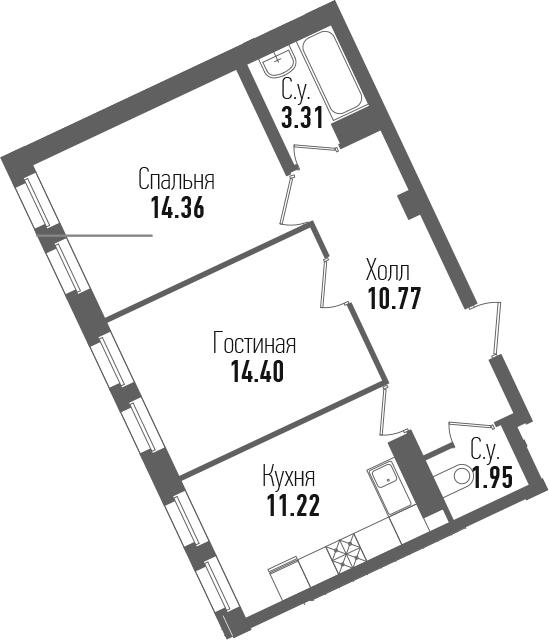 2-к.кв, 56.01 м²